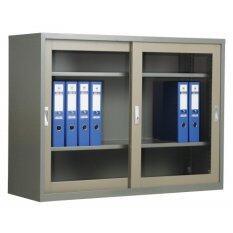 Adhome ตู้เอกสารบานเลื่อนกระจก ขนาด 90 ซม รุ่น Sla 3 สีเทาสลับ ถูก