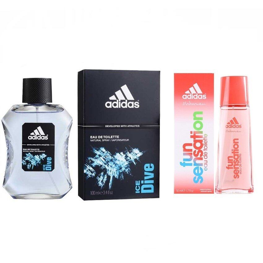 Adidas Fun Sensations for women EDT 50 ML+Adidas Ice Dive Adidas for men EDT 100 ml พร้อมกล่อง