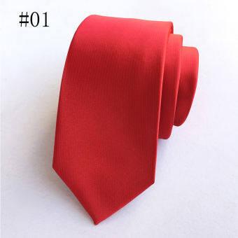 ผู้ชายอย่างเป็นทางการทางการค้าเน็คไท Skinny โพลีเอสเตอร์ผ้าไหมเนกไทธุรกิจสำนักงานพรรคแต่งงาน Ties (สีแดง)