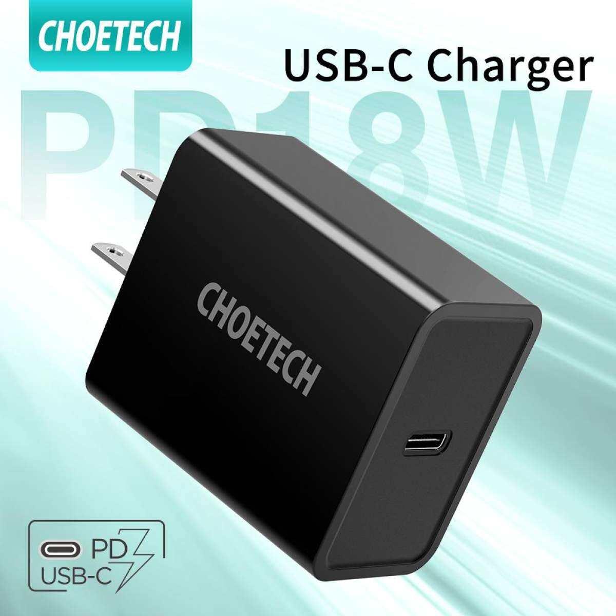 CHOETECH USB C Charger 18W Type C เครื่องชาร์จติดผนัง USB-C อะแดปเตอร์ iPhone iPad Pro galaxy Google Pixel 3/3 XL
