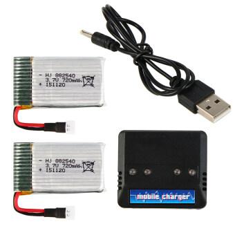 แบตเตอรี่ 3.7 720mAh 2 ก้อน พร้อม USB Charger สำหรับ Syma X5C X5SW X5SC Quadcopter