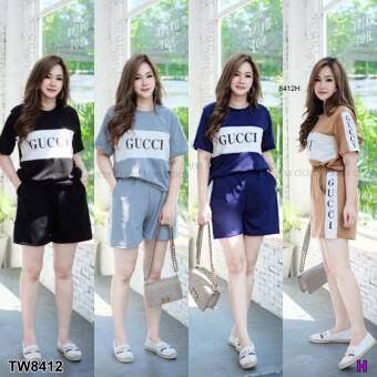 SS8412 Set (สาวอวบ) ทูโทน เสื้อ + กางเกงแต่งแถบโลโก้