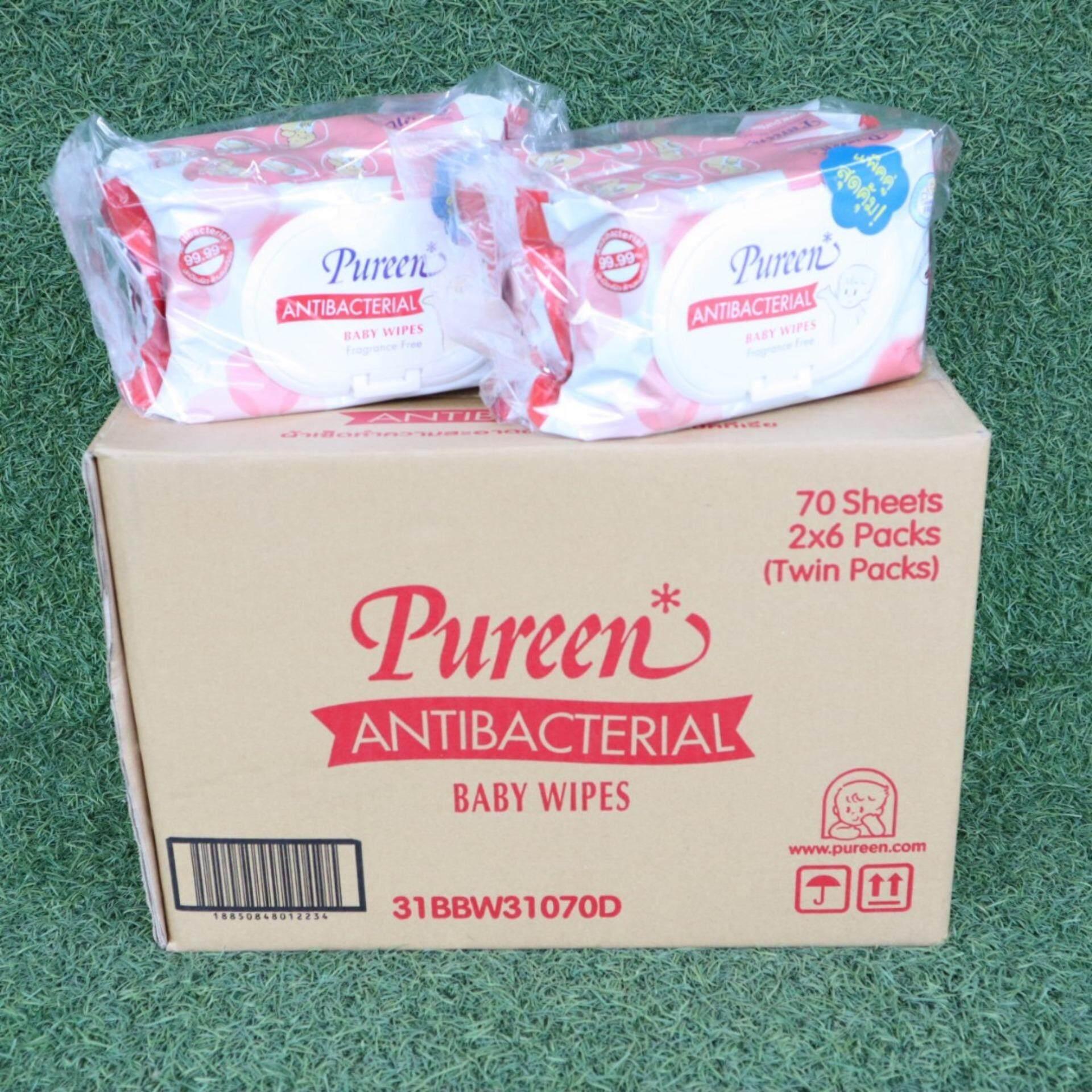 ขายยกลัง Pureen Baby Wipes ผ้าเช็ดทำความสะอาด สูตร Antibacterial 70 แผ่น ( แพ็ค 2 x 6 ) สีแดง