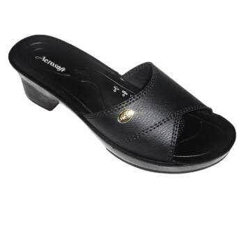 aerosoft รองเท้าแตะผู้หญิง PU นุ่มสบาย A3131 สีดำ
