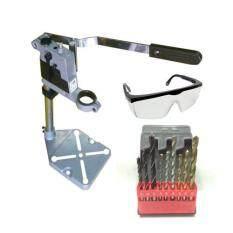 โปรโมชั่น แท่นจับสว่านไฟฟ้า รุ่นหนา 1 6 Kg Drill Stand Cast Iron Base พร้อม ดอกสว่าน เจาะ ไม้ เหล็ก ปูน และ แว่นตากันสะเก็ด