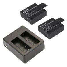 ราคา แท่นชาร์จคู่ พร้อมแบต 2 ก้อน สำหรับ Sjcam Sj4000 Sj5000 Black ราคาถูกที่สุด