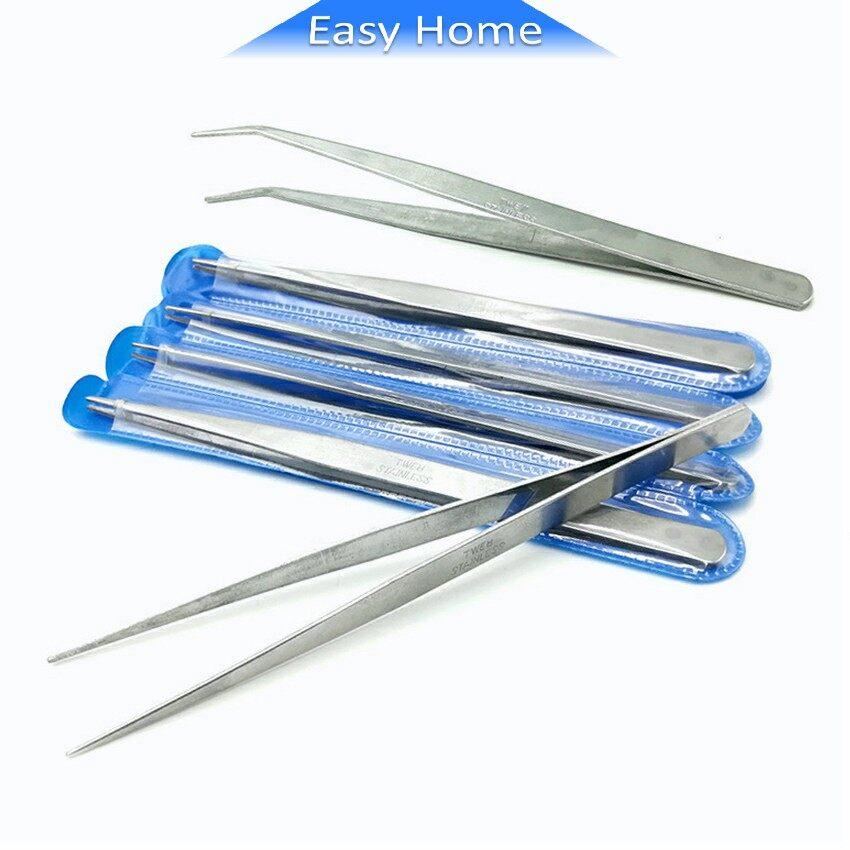คีบหนีบสแตนเลส ปากคีบงอ คีมหนีบอเนกประสงค์ มี 2 แบบ ปากคีบแหลม Stainless Steel Tweezers.