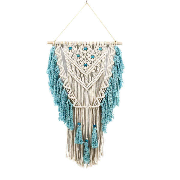 Hand Knotted Macrame Wall Art Handmade Cotton Bohemian Wall Hanging Tapestry With Tassel Boho Wedding Best