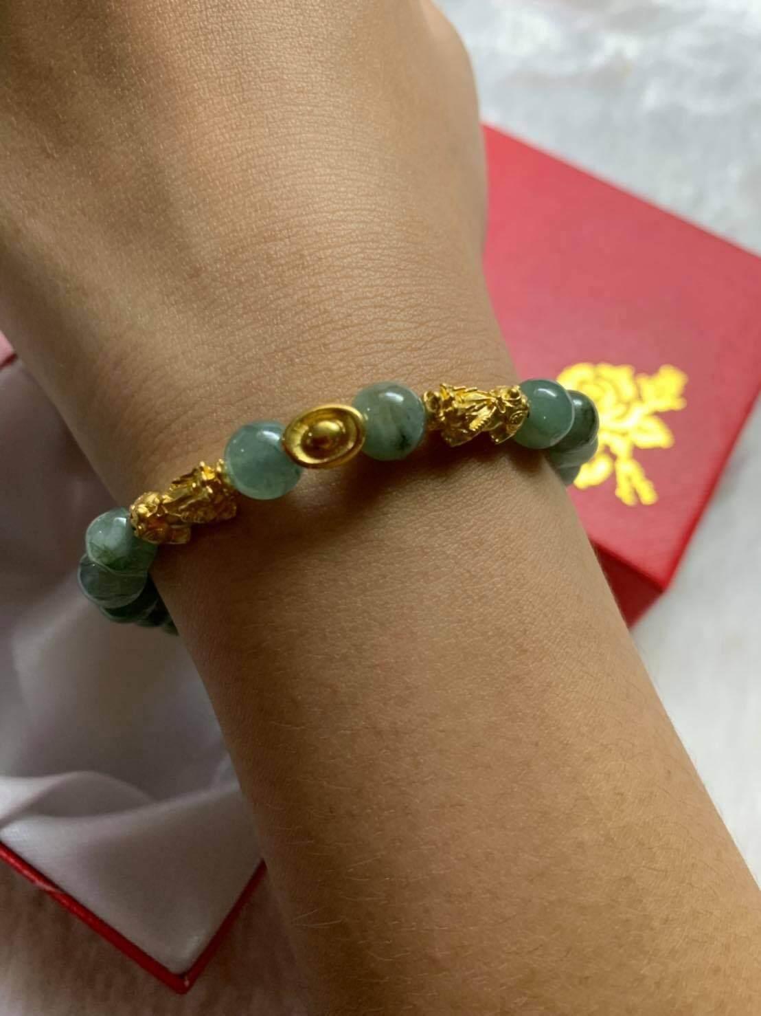หยกพม่าปี่เซียะคู่ + กิมตุ้ง ทองแท้ 99.99% มีใบรับบประกัน(ปลุกเสกแล้วจากฮ่องกง) By Jinda Gold.