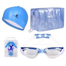 ซื้อ Anti Water And Fog Chain Plugs Uv400 Goggles Big Frame Electroplating Swimming Glasses For Men And Women Blue ออนไลน์ จีน