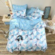 ขาย Apk ชุดผ้าปูที่นอน 5 ชิ้น พร้อมผ้านวมหนา 3 5 ฟุต รุ่นC3 S01 ลายสามเหลี่ยม สีฟ้า ใหม่