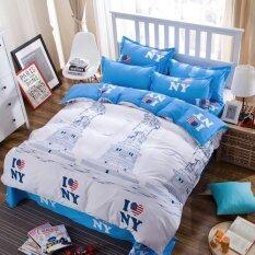 ขาย Apk ชุดผ้าปูที่นอน 5 ชิ้น พร้อมผ้านวมหนา 5 ฟุต รุ่น N5 13 ลาย I Love Ny สีฟ้า ขาว Apk