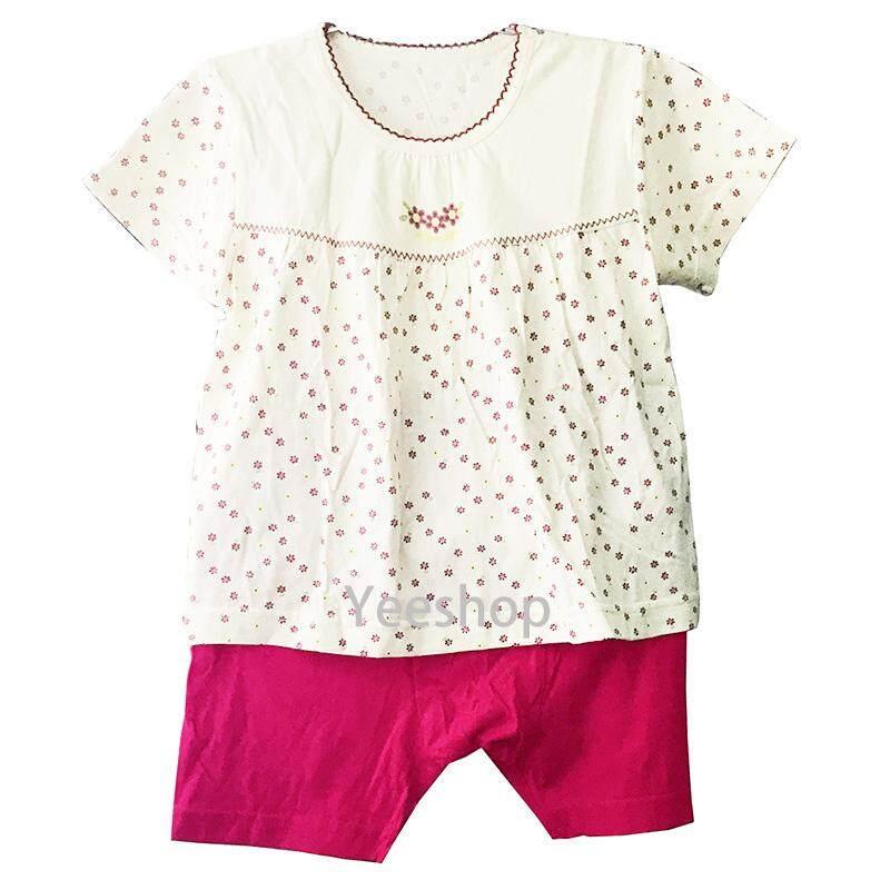 Image 2 for YeeShop ชุดเสื้อผ้าเด็กผู้ชาย/เด็กผู้หญิงแขนสั้นเข้าชุด สไตล์ญี่ปุ่น ลายดอกไม้น่ารัก ไซส์ 80#/XS 90#