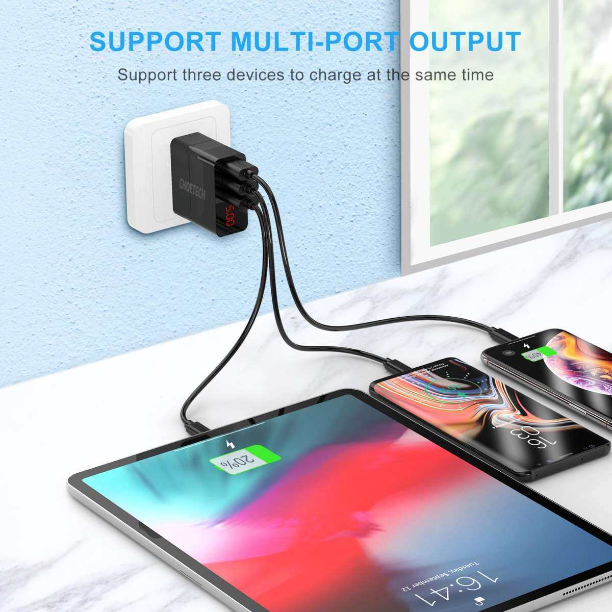CHOETECH 3 Ports USB Wall Charger 3A Wall Charger Travel Fast Charger for Samsung Xiaomi Huawei LG Wall Adapter