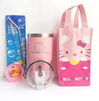 T&T shop แก้วเก็บอุณหภูมิ ร้อน-เย็น ขนาด 30 ออนซ์ ลายคิตตี้(สีชมพู) ผิวทราย เลเซอร์โลโก้ พร้อมเซ็ตกระเป๋า Hello Kitty สีชมพู,หลอดสแตนเลสและยางรอง-