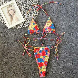 2021 Triangle micro bikini set Brazilian floral print swimsuit women String high cut swimwear Sexy swimming Bathing suit Biquini thumbnail