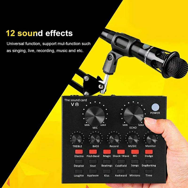 V8 Audio Mixer Sound Card Usb Headset Microphone Webcast Live Sound Card For Phone Computer Laptop.
