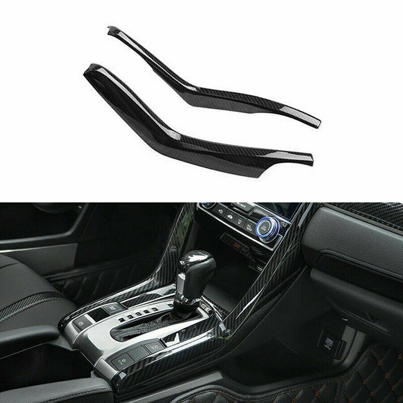 2Pcs Carbon Fiber Gear Shift Stripe Panel Cover Trim for Honda Civic 10Th 2016-2019