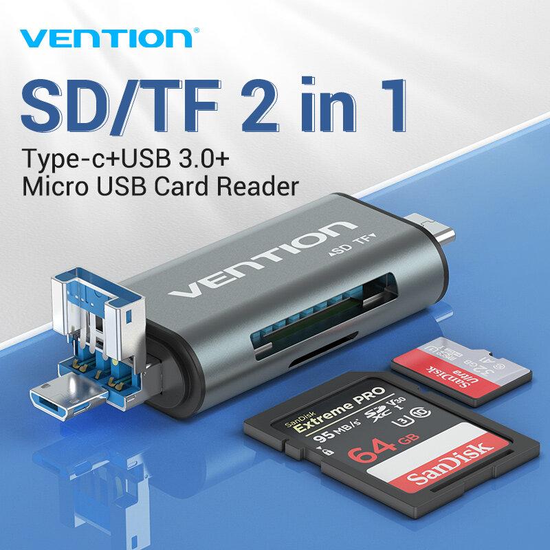 【ส่งจากไทย】vention Type C Micro ตัวอ่าน Sd Card Adapter Smart Card Reader Usb Card Reader ที่เสียบเมม Adapter Card Reader 2 In 1 Card Reader For Macbook Laptop Usb 3.0 Sd / Tf Otg Card Reader.