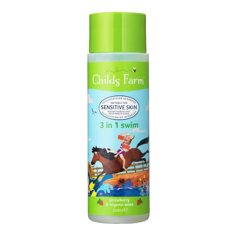 ราคา ชายด์ ฟาร์ม อาบน้ำและสระผม ขจัดคลอรีนหลังการว่ายน้ำ 250 มล. (Childs Farm 3 in 1 swim, strawberry & organic mint)