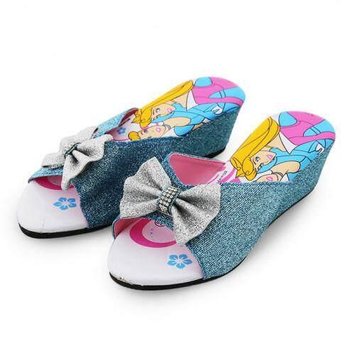 รองเท้าแตะมีส้น สำหรับเด็ก รุ่น BC1011 ลายเจ้าหญิง สีฟ้า ขนาด 25