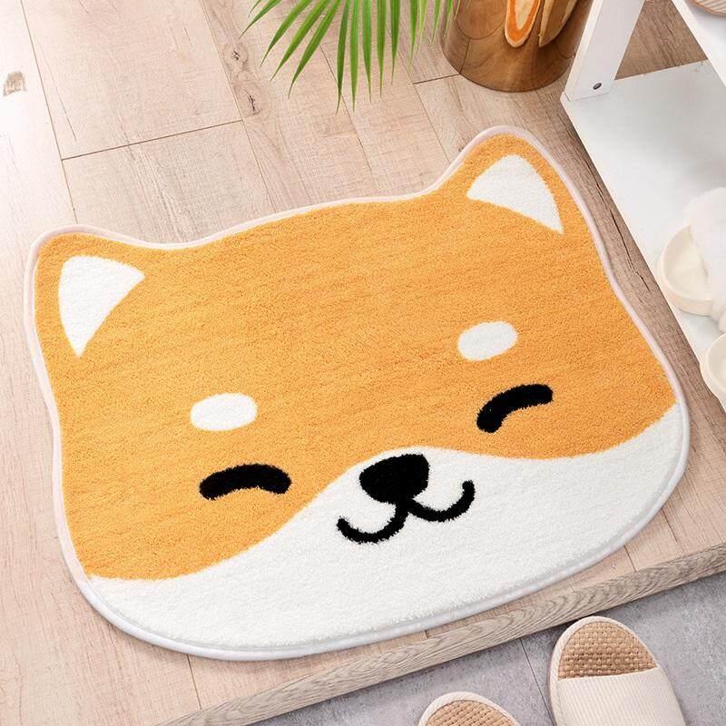 Household Comfort Carpet Cartoon Pattern Bathroom Non-Slip Mat Kitchen Absorbent Pad Shiba Inu Yellow Flocking