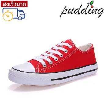 PUDDING รองเท้าผ้าใบใหม่รองเท้าผ้าใบคลาสสิกรองเท้าวัลคาไนรองเท้าผู้ชายรุ่นคู่รองเท้านักเรียนฤดูใบไม้ร่วงเวอร์ชั่นเกาหลี-