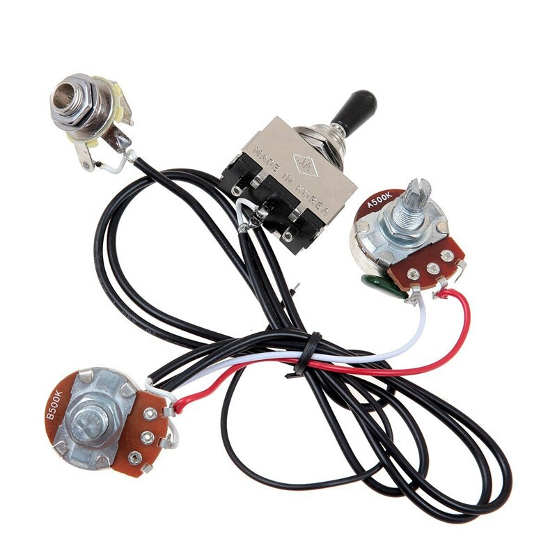 Guitar Wiring Harness Prewired Two Pickup 500K Pots 3-Way Toggle Switch Silver