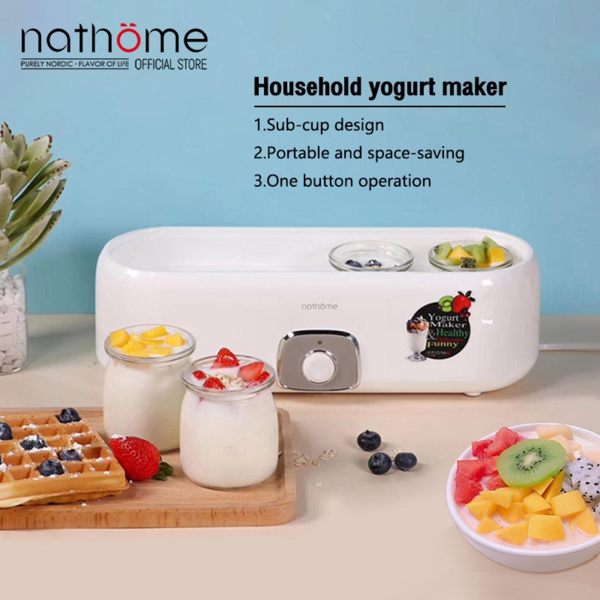 Nathome โยเกิร์ตเครื่องอัตโนมัติบ้านถ้วยแก้วหมักขนาดเล็กห้องพักรวมเครื่องชงโยเกิร์ต   Yogurt Makers  Nsn601.