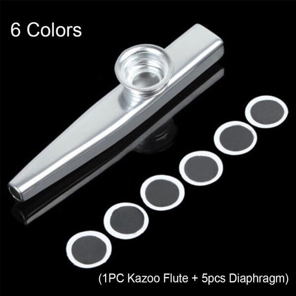 QIANGDI Fashion Silver Aluminum Children Kids Kazoo Flute Metal 5 Pcs Diaphragm Harmonica Malaysia
