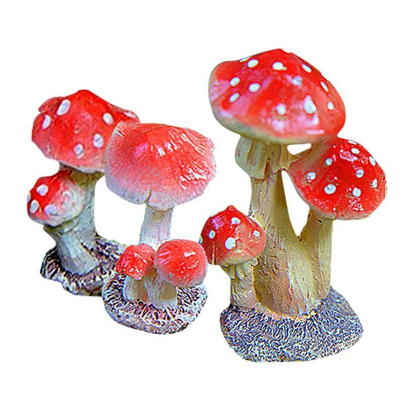 3-Piece Miniature Fairy Garden Mushroom Ornament Dollhouse Plant Pot Figurine DIY Decor Home Decoration Style2 3-Piece