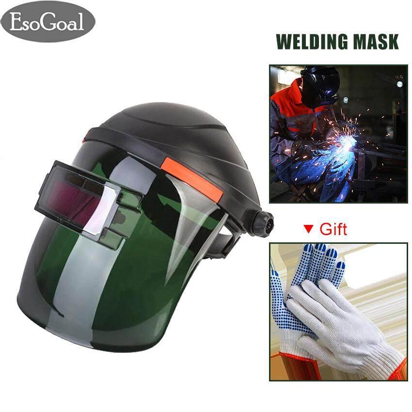 EsoGoal Solar Automatic Photoelectric Welding Face Helmet Mask, Welding Head-mounted Helmet Mask with Full Shade Range