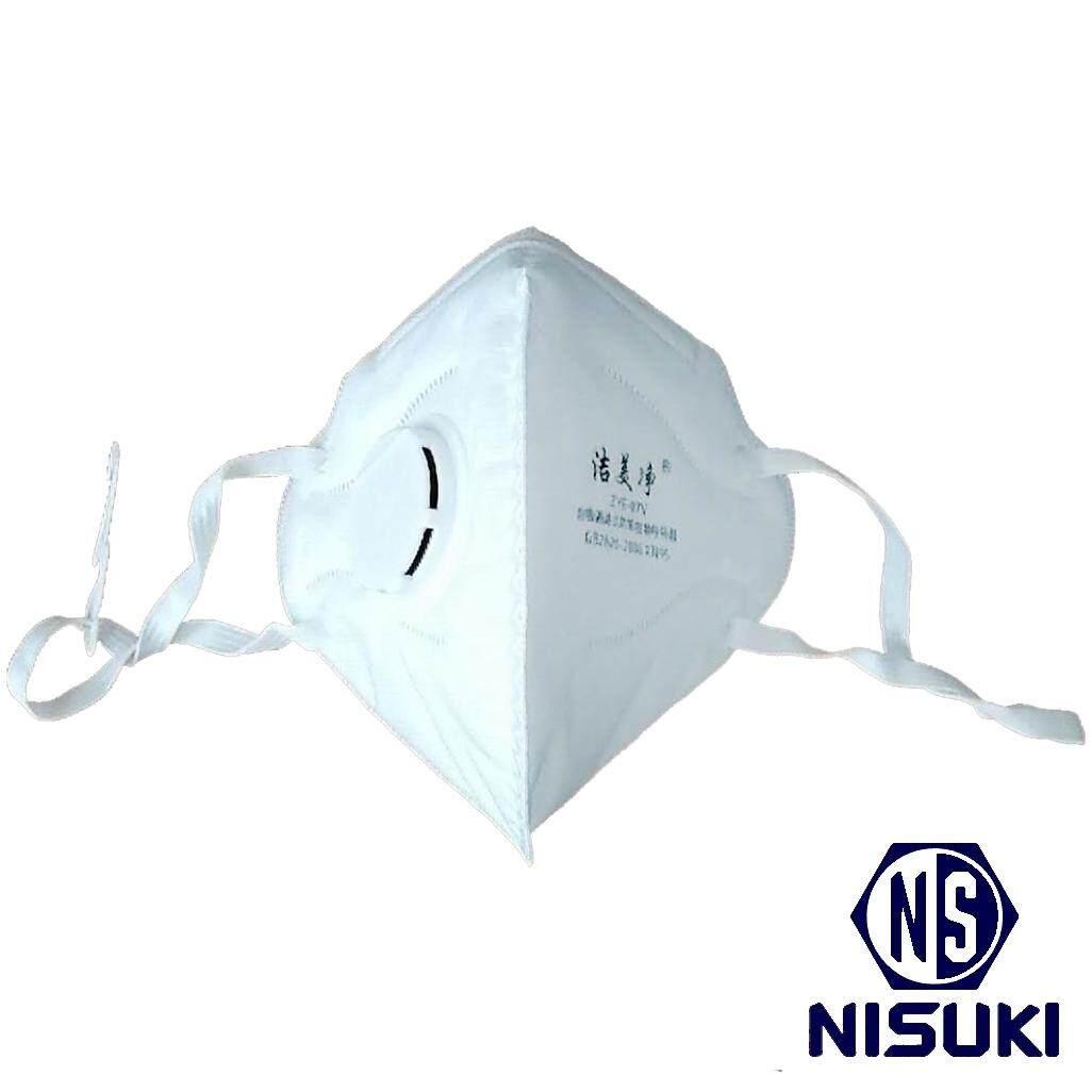 หน้ากากอนามัย N95 มีวาล์ว แบบยางยืดคล้องหู 10 ชิ้น/กล่อง By Nisuki.