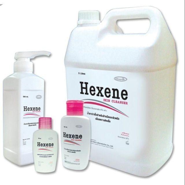 Hexene Skin Cleanser ขนาดใหญ่ 5 ลิตร เป็นน้ำยาฆ่าเชื้อสำหรับล้างมือก่อนทำการผ่าตัด สำหรับทำความสะอาดมือในเด็กผู้ป่วยเพื่อลดการติดเชื้อ สำหรับทำความสะอาดผู้ป่วยก่อนการผ่าตัด และสำหรับทำความสะอาดผิวหนังทั่วไปและบาดแผล