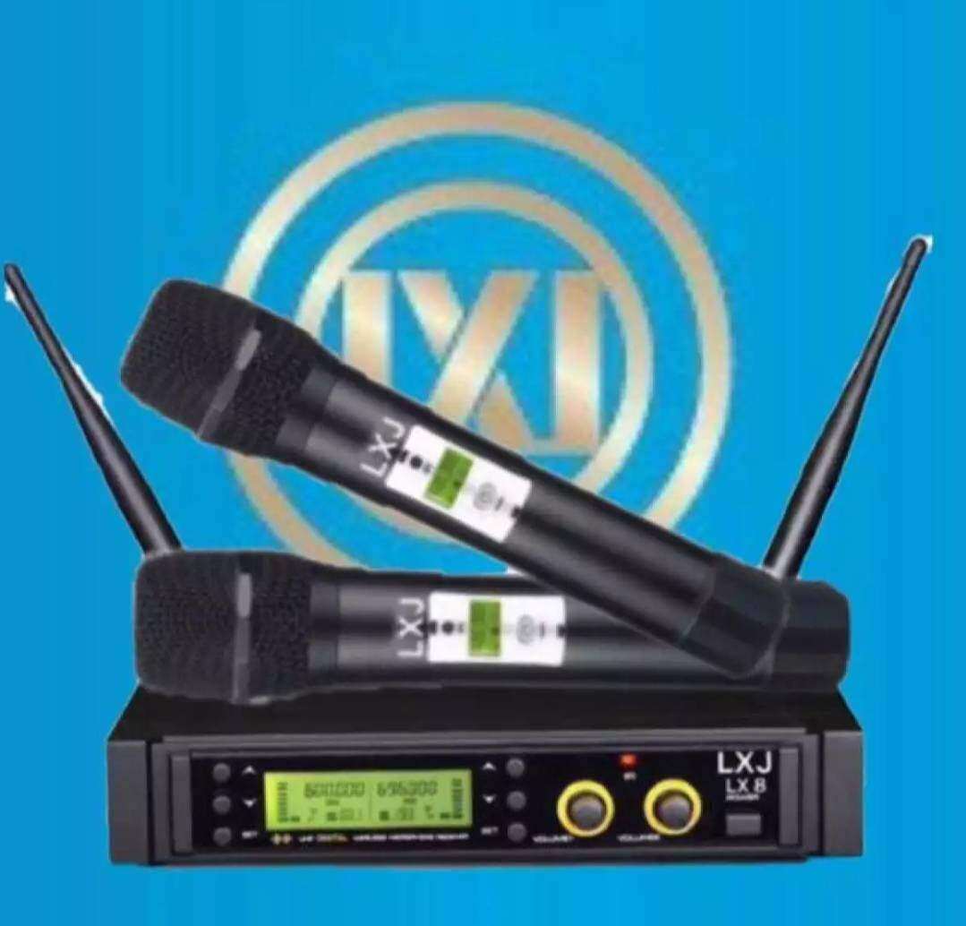Lxj ไมโครโฟนไร้สาย/ไมค์ลอยคู่ Uhf รุ่นใหม่ล่าสุดที่ปรับความถี่ได้ ประชุม ร้องเพลง พูด Wireless Microphone รุ่น Lxjฟรีกระเป๋าพกพา+ยางกันกระแทกไมโครโฟน.
