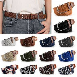 YOLK Fashion Outdoor Sports Classic PU Leather Buckle Elasticated Fabric Canvas Belts Braided Stretch Belt Waistband thumbnail