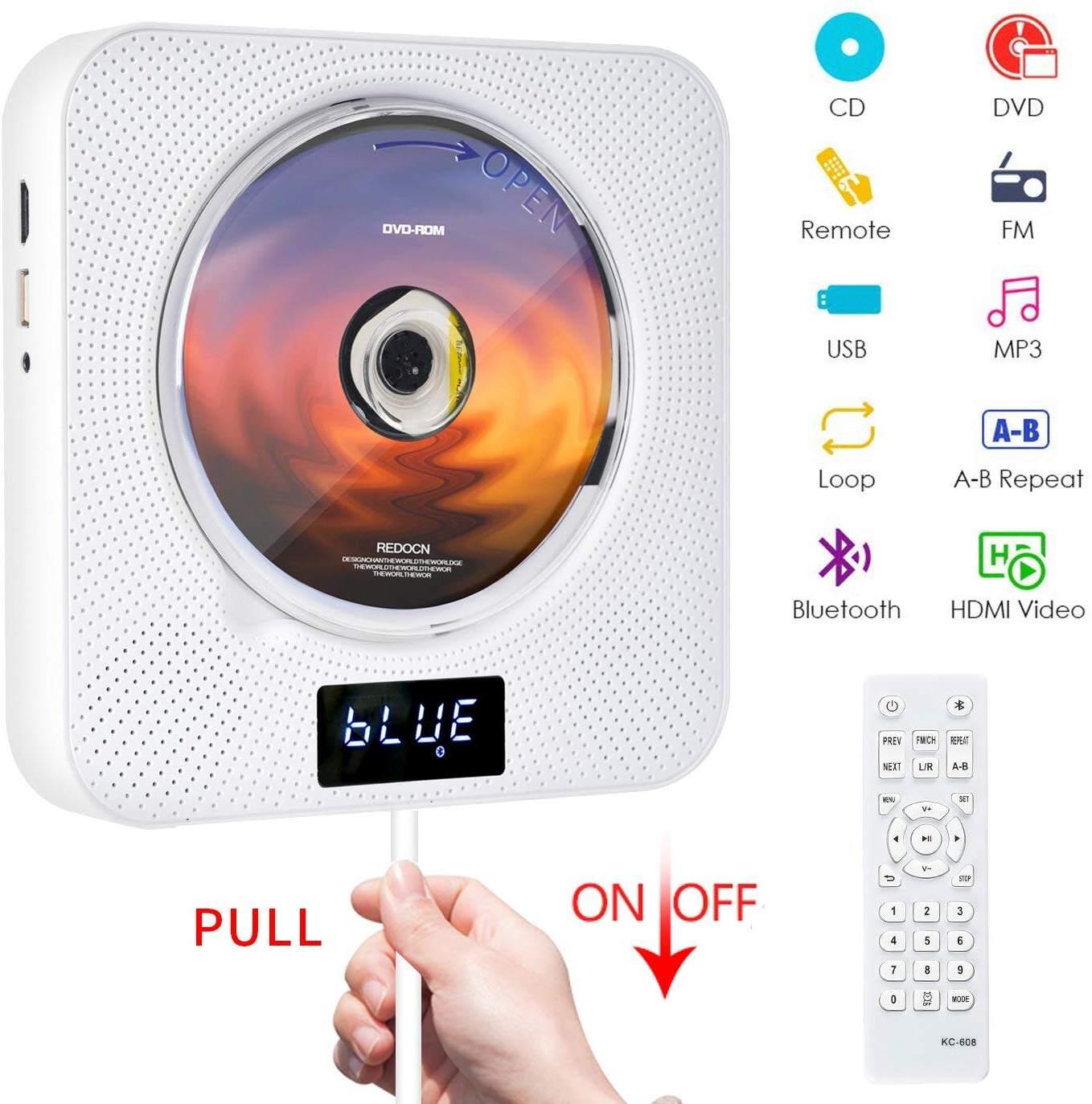 เครื่องเล่น Dvd / Cd พกพาพร้อม Bluetooth, เครื่องเล่นเพลง Cd ติดผนังได้พร้อมรีโมท Hdmi สำหรับ Tv Home Cd พกพาพร้อมวิทยุ Fm ลำโพงไฮไฟในตัว.