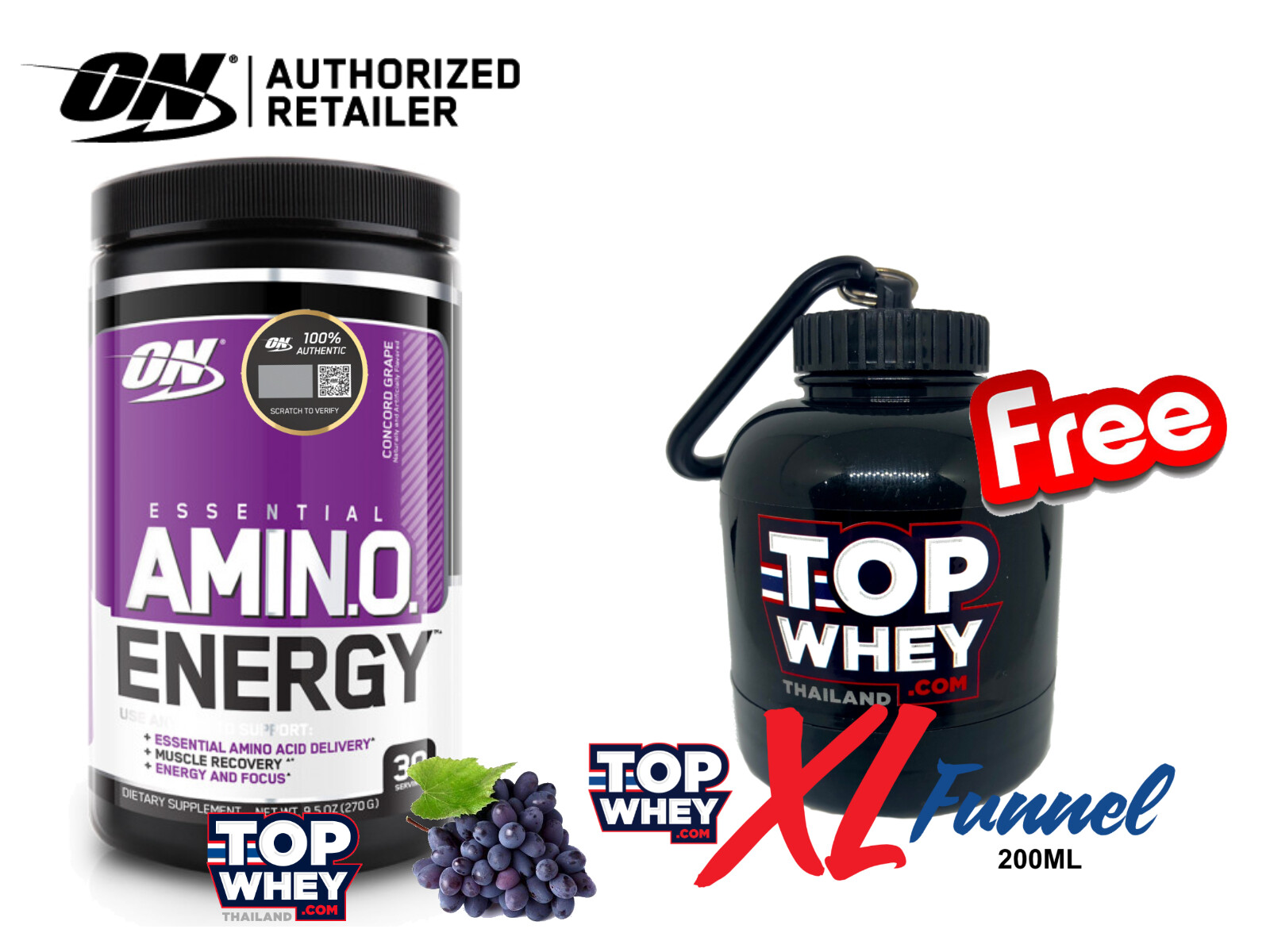 Optimum Nutrition Amino Energy 30 Servings - Concord Grape – กรดอะมิโน ช่วยให้ร่างกายตื่นตัวสดชื่น กล้ามเนื้อฟื้นตัวได้ไวขึ้น ป้องกันการทำลายกล้ามเนื้อและกระตุ้นการสังเคราะห์โปรตีนเพื่อสร้างกล้ามเนื้อ