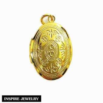 Inspire Jewelry ,จี้ล็อกเก็ต ลายโรมัน 2CM  หุ้มทองแท้ 100% 24K เปิดปิด ใส่รูปได้ ผลิตพิเศษ มีจำนวนจำกัด สวยหรู งดงาม