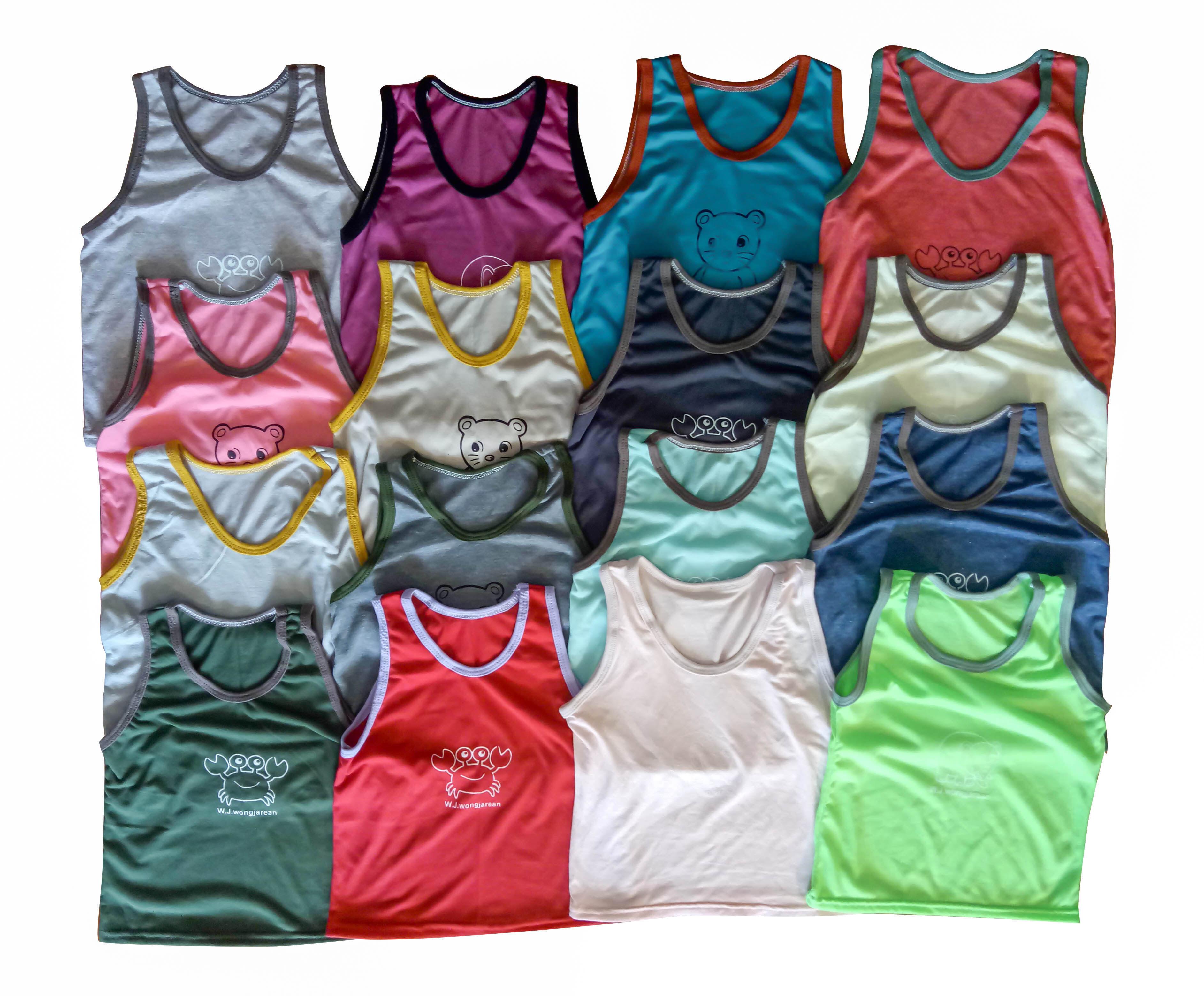เสื้อแขนกุดเด็ก เสื้อกล้ามเด็ก (ช่วงอายุประมาณ 2 เดือน - 10 ขวบ) คละสี 1 ชิ้น.