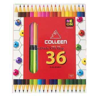 Colleen ดินสอสีไม้ คลอรีน 2 หัว 18 แท่ง 36  สี รุ่น787 สีธรรมดา+นีออน(สะท้อนแสง)