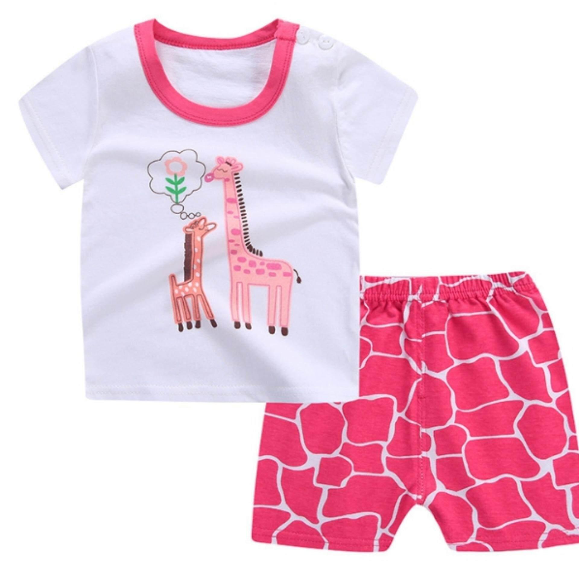 เสื้อ+กางเกงขาสั้น ลายการ์ตูนสุดน่ารัก เนื้อผ้านุ่ม ใส่สบาย ลายสกรีนไม่แตก Kids Clothes  ไซส์ 70-140 ซม./6 เดือน-10 ปี