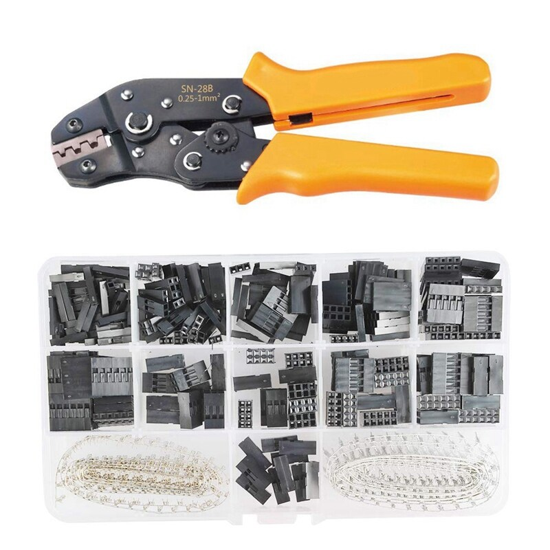 2.54Mm Pitch JST SM Pins SN-28B Crimping Tools Dupont 620Pcs 1 2 3 4 5 6 Pin Housing Connector Male Female Crimp Pins Adaptor Assortment Kit