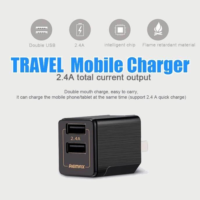 หัวชาร์จมือถือ Remax 2-Port Usb Travel Charger 12w (2.4a 5v) สีดำ Charger By Chaya10.