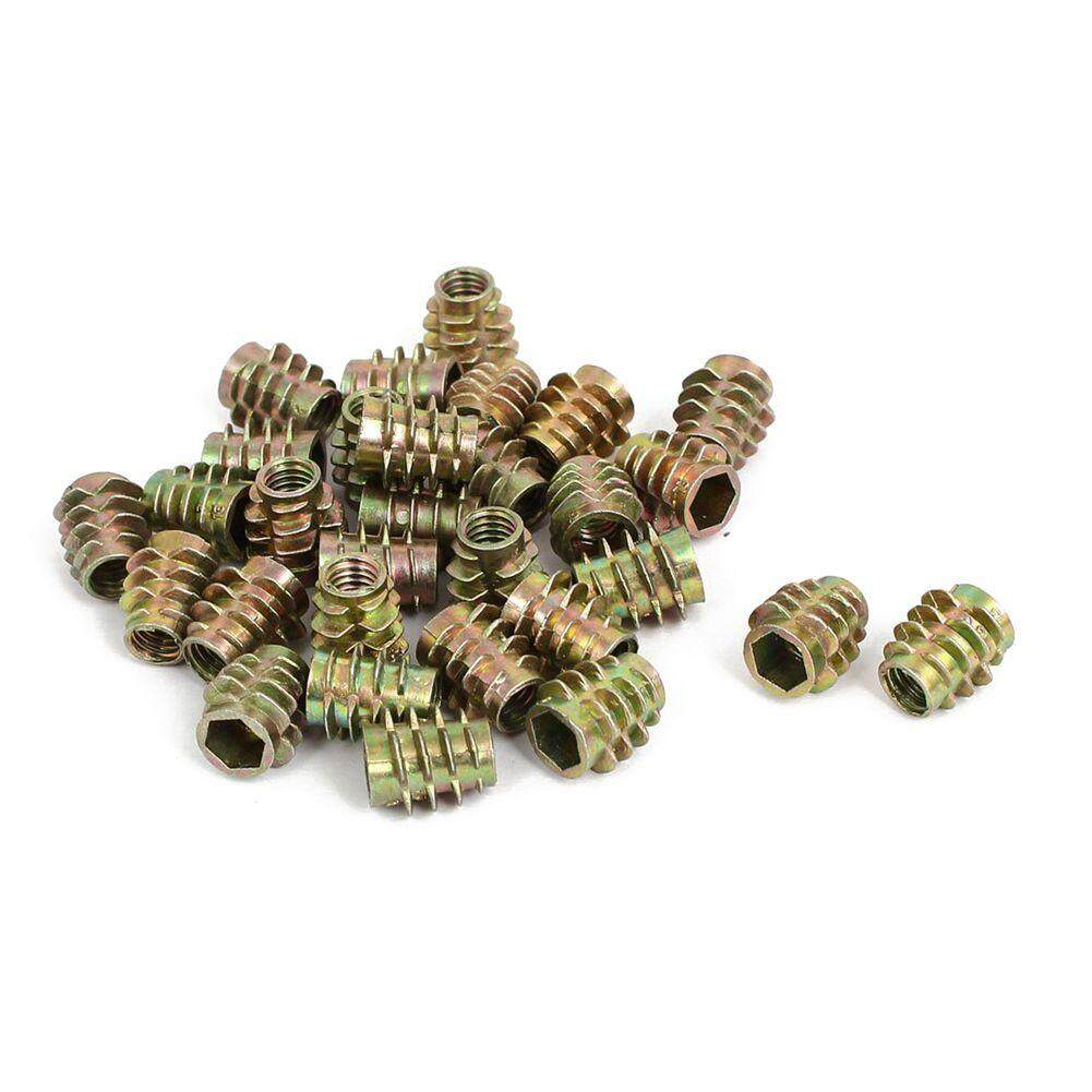 30pcs M6x13mm Zinc Plated Hex Socket Screw in Thread Insert Nut