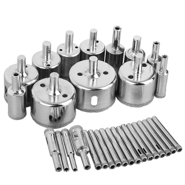 30Pcs Diamond Coated Drill Bit Set Tile Marble Glass Ceramic Hole Saw Drilling Bits for Power Tools 6-50mm Malaysia