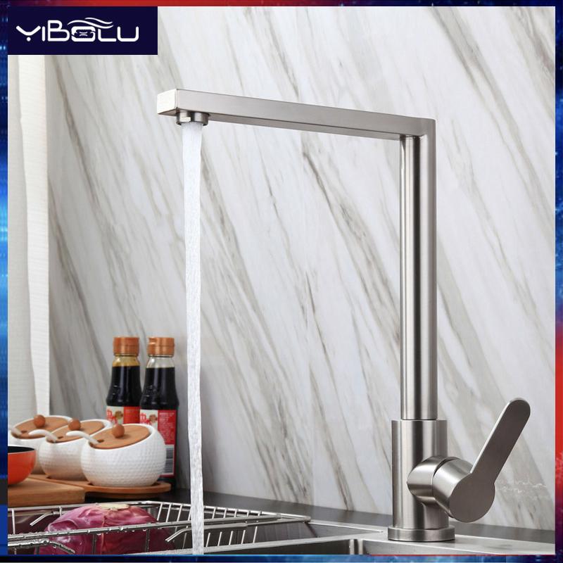 ก๊อกน้ำห้องครัว 304 สแตนเลส หมุนได้ 360 ° การสลับน้ำร้อนและเย็น