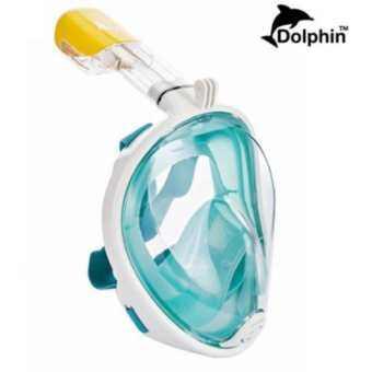 Dolphin  หน้ากากดำน้ำ ครอบทั้งหน้า หายใจสะดวก กระจกไม่เกิดฝ้า รุ่น DP01N หน้าเรียบ  (สีเขียว)