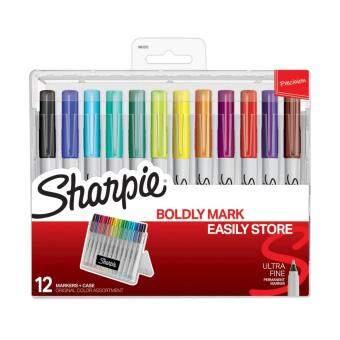 Sharpie Permanent Marker ปากกามาร์กเกอร์ ชาร์ปี้ Ultra Fine 0.3mm 12 สี (กล่องตั้งได้)