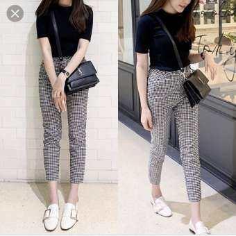 กางเกงลายสก๊อต 8 ส่วน กางเกงใส่ทำงาน กางเกงแฟชั่น  กางเกงเอวสูง กางเกงเข้ารูป กางเกงผ้า